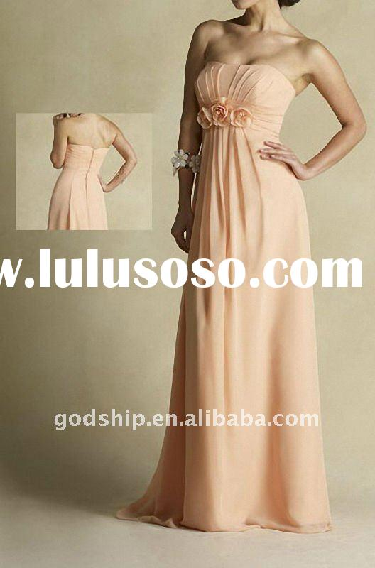 Peach Handmade Flowers Empire Floor Length Pregnant Maternity Prom Dresses M-0254