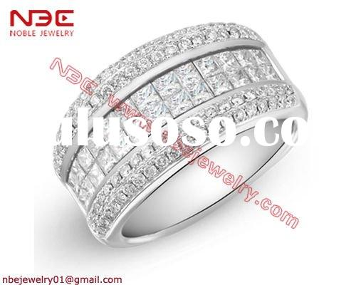 2011 New Design 925 sterling silver diamond ring with invisible setting