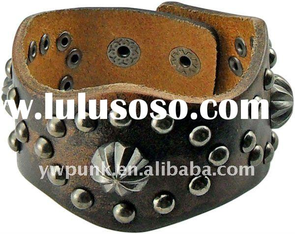 Exclusive Punk Double rows studded accessories cow leather bracelets bangles