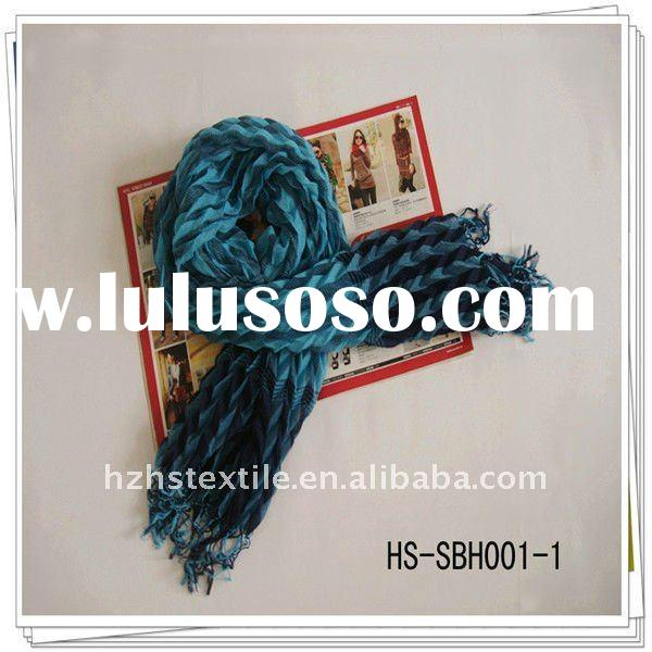 Hot-sale Lady Crinkle Polyester Scarf with Fringe