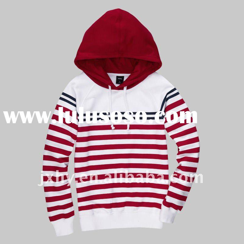 280grams wholesale yarn dyed long sleeve pullover women hoody stylish naval stripe weave with string