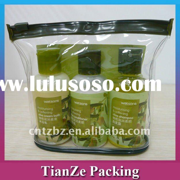 Clear pvc Bag with handle for cosmetic packing