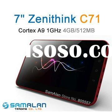 """Top Sell 7"""" Zenithink C71 Cortex A9 1GHz 1080P HDMI Capacitive Multi-touch flash 10.3 tablet pc"""