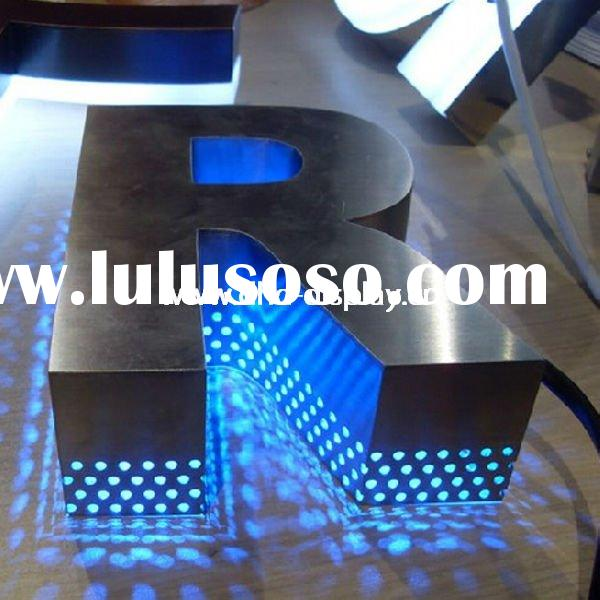 backlit stainless steel LED letter