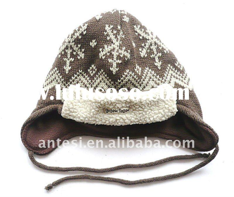 100% acrylic children jacquard knitted hat