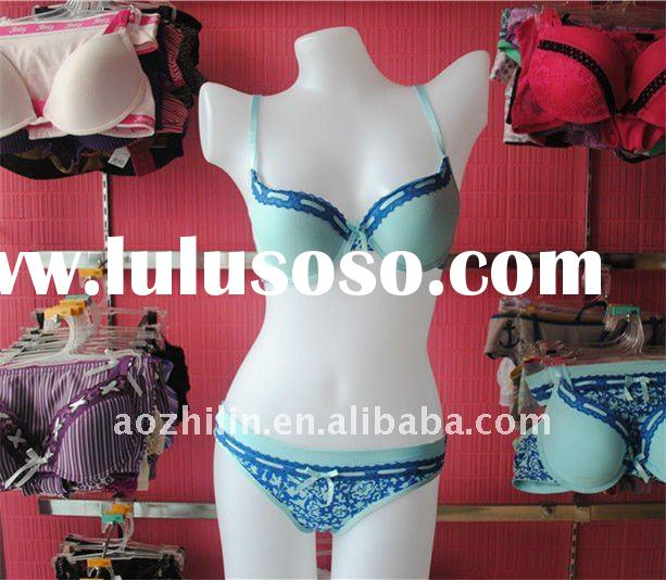 Charming Blue Lace Cheap Lingerie Sets with Fashion printing