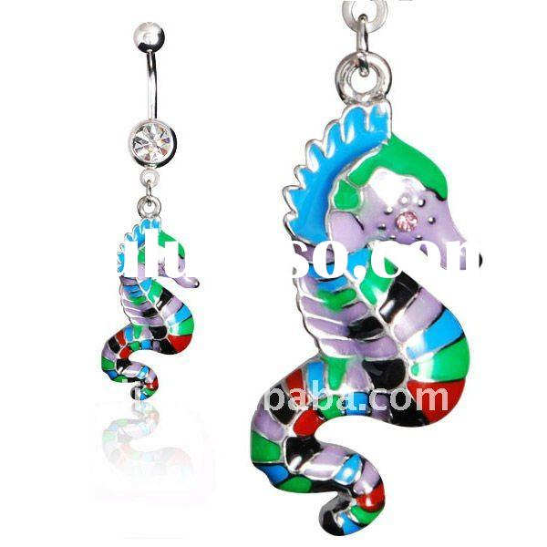Sea horse design body piercing navel belly jewelry