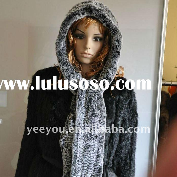 new style rex rabbit fur Knitted hooded scarf/Cap 09YY-S31