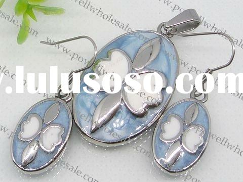 stainless leaves jewelry set