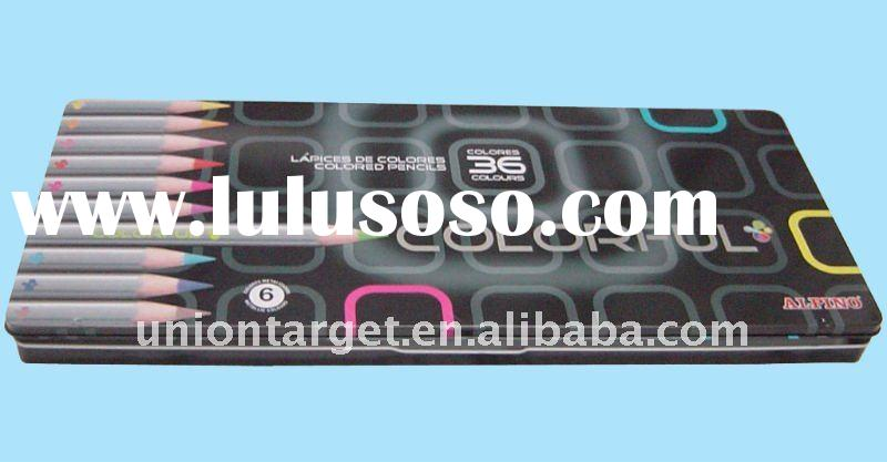 tin material Pencil Box with various printing - T-20167A for color pencils and pens