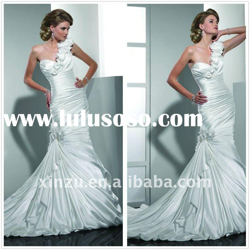 2011 Elegant Single Shoulder Long Train Satin Wedding Gown--SZWD1176
