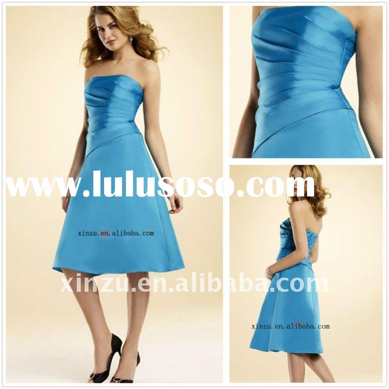 2011 strapless blue ruffled  short satin bridesmaid dress--BMD3034