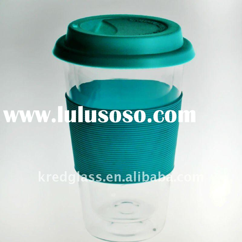 Heat resistant glass cup with silicate cap and ring