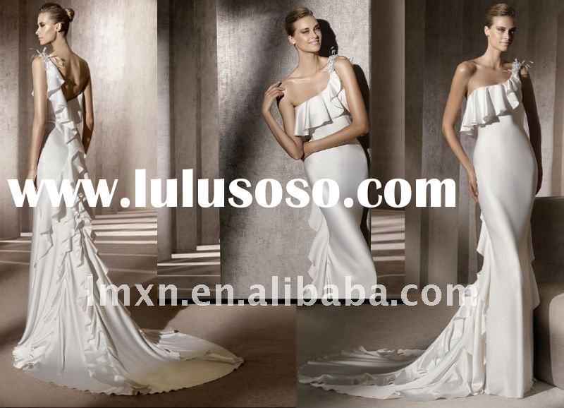 One-Shoulder white sheath fashion beautiful 2012 wedding dress