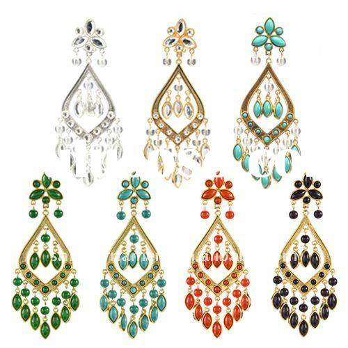 fashion alloy colorful imitation pearl chandelier earring