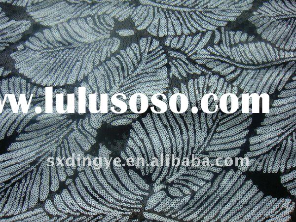 leaf shape flower sequin embroidery fabric