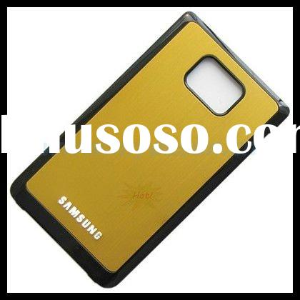Metal Back Plate Battery Cover with Black Frame for Samsung Galaxy S2 II i9100 - Gold