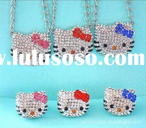 high-quality pink crystal hello kitty necklace