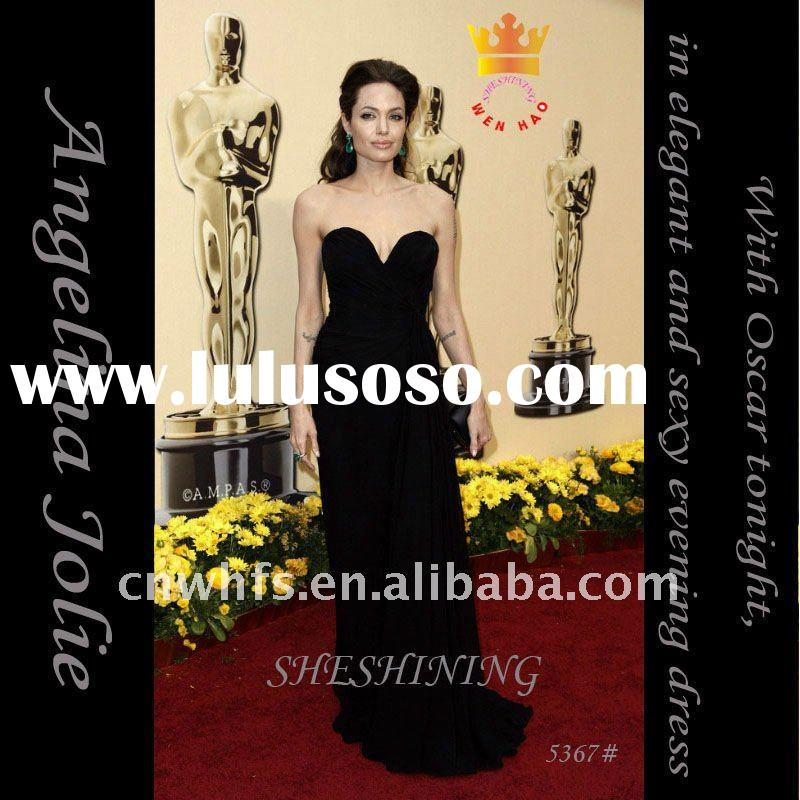 Celebrity Angelina Jolie In Black Strapless EVENING DRESS In Oscar 5367#