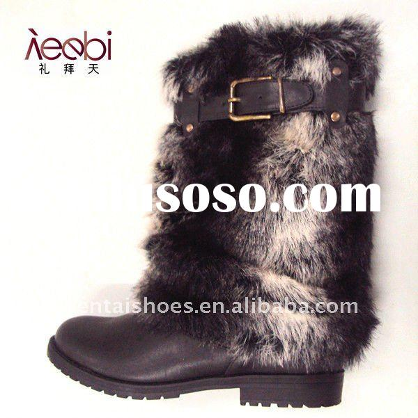 newest fashion flat fur snow boot