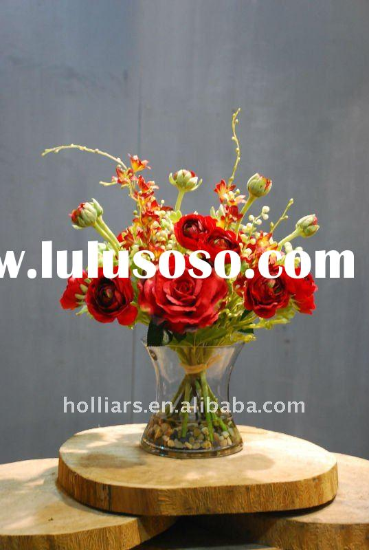 decorative artificial silk flower arrangements with acrylic water