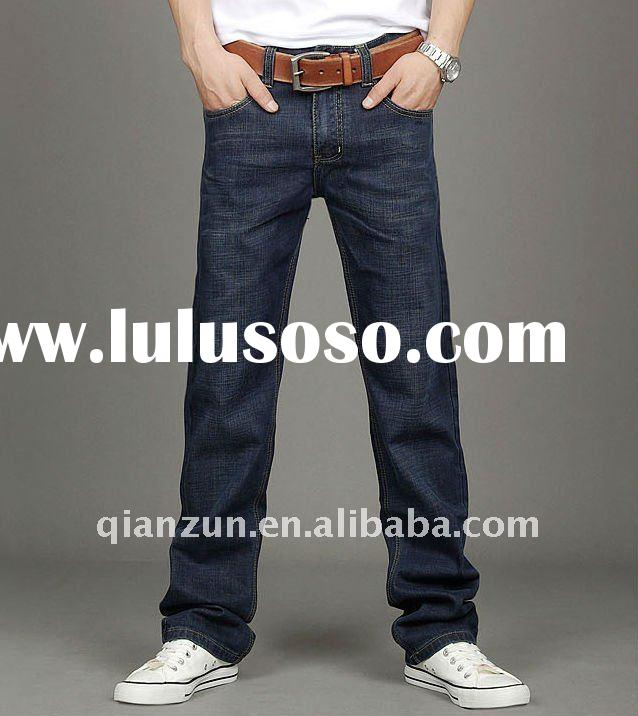 fashion men's wahsed cotton jeans trousers