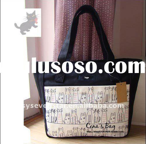 2011 Trendy Winner Popular Girl's Beautiful Canvas Tote Handbag