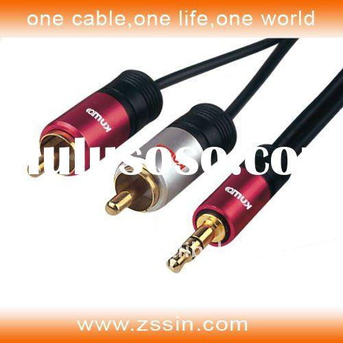 3.5mm to 2RCA cable used for CD/MP3,iphone,Ipod and ipad.
