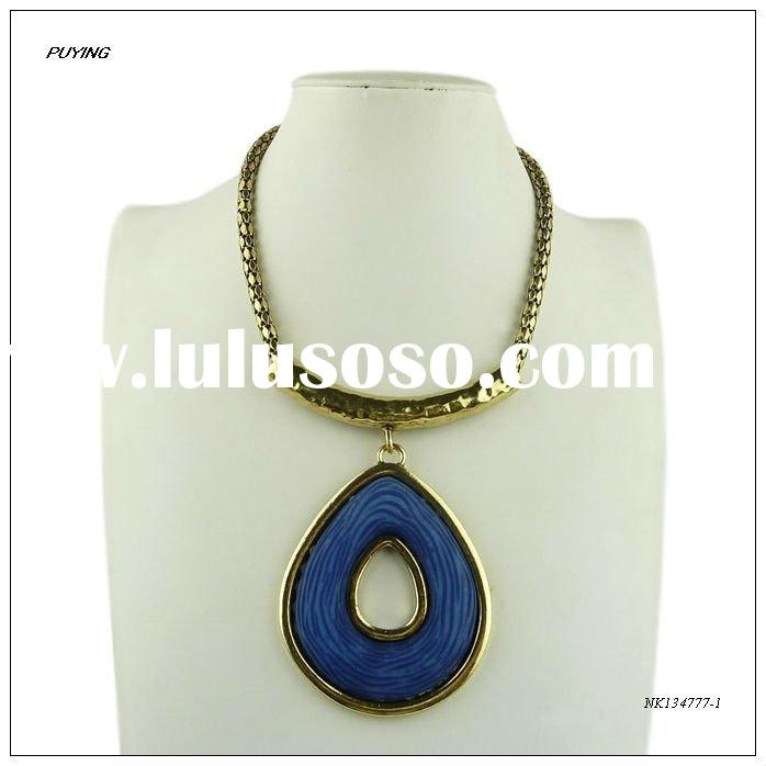 Fashion Big Blue Resin Gold-plated Alloy Pendant Necklace, Fashion Women Jewelry