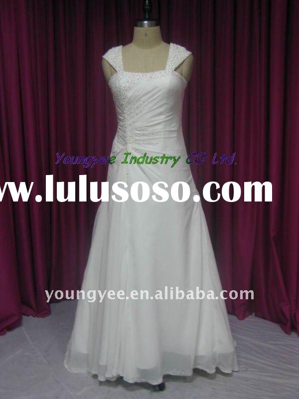 Hot sale A-line cap sleeves chiffon beaded wedding dress(Penelope)