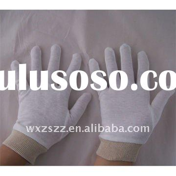 White Cotton Glove with Knit wrist