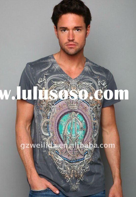 2011 Western Style Fashion Short Sleeve V-neck T Shirt with Printing
