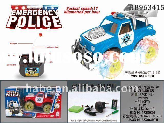 4chu rc police car with transparent wheels and flash, educational children  car