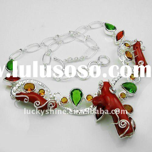 Charm fine jewelry 925 sterling silver red coral chains necklace