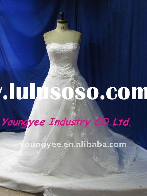 Hot sale lace top sweetheart neckline organza wedding gown(Charlie)