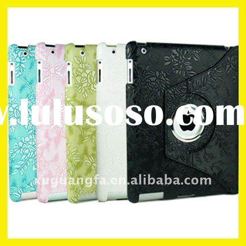 Magnetic Rotating Stand Leather Smart Cover Case for iPad 2 with Stylish Embossed Flowers 5 Colors N