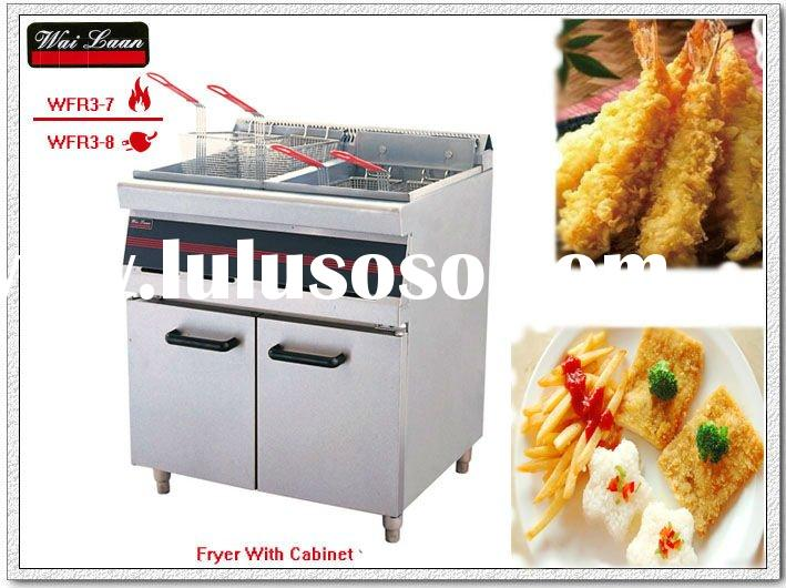 2011 year New 2-tank 4-basket gas fryer with cabinet(WFR3-7)