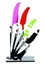 ceramic knife set with acrylic block