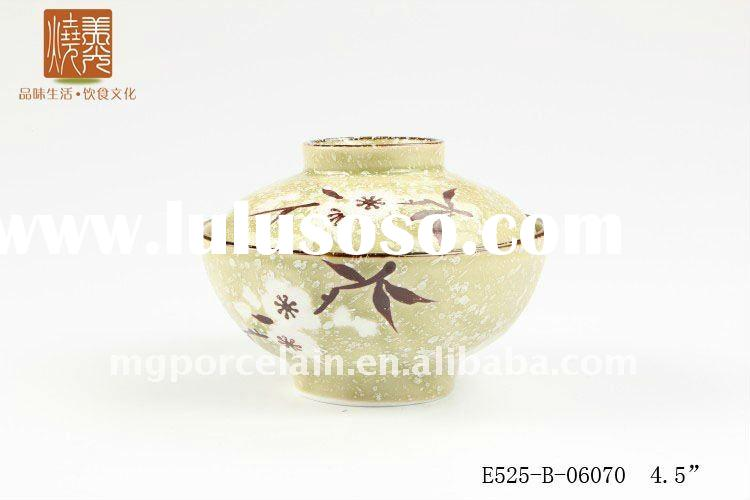 chinese style hand painted ceramic rice bowl with lid E525-B-06070