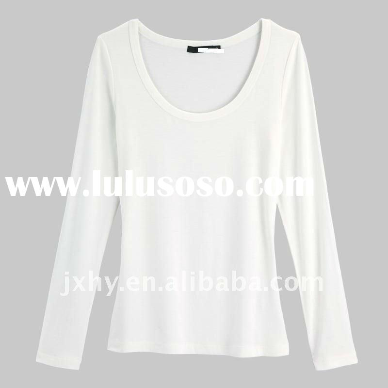direct manufactory solid color long sleeve women t-shirt