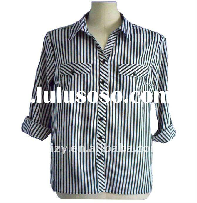 long sleeve stripe woman garment
