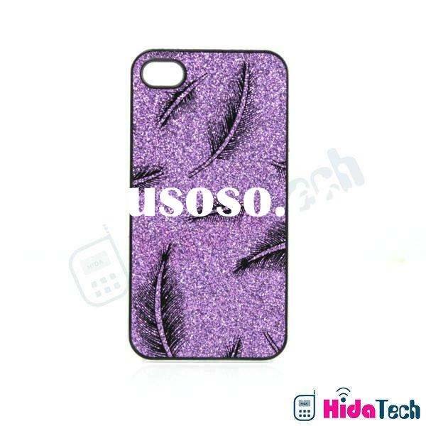 Glitter Shiny Powder Feather Design Hard Case for Apple iPhone 4 / 4S