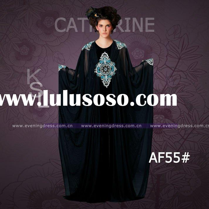 2012 Black color bat sleeves design women muslim dress abaya AF55#