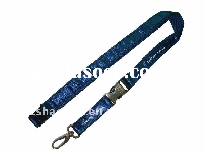 Blue imprint satin ribbon lanyard