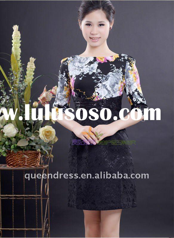 Hot-sale Elegant hand embroidered Middle sleeve Cheongsam Dress Black