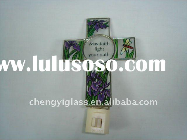 Classical !!!    Glass Cross shaped  mini Night Light for Christmas decorations