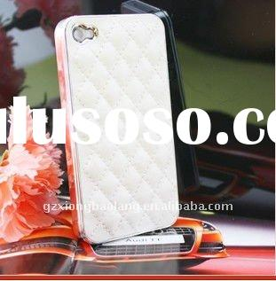 Luxury Designer Leather Case White Cover Skin for iphone 4G
