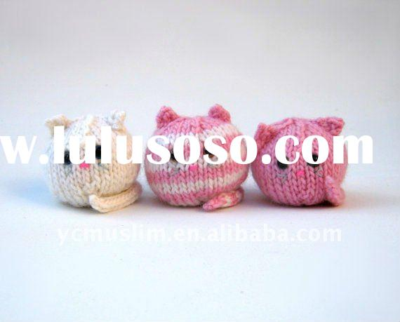 New handmade knit stuffed toy cats in luxury pink and white pure cotton