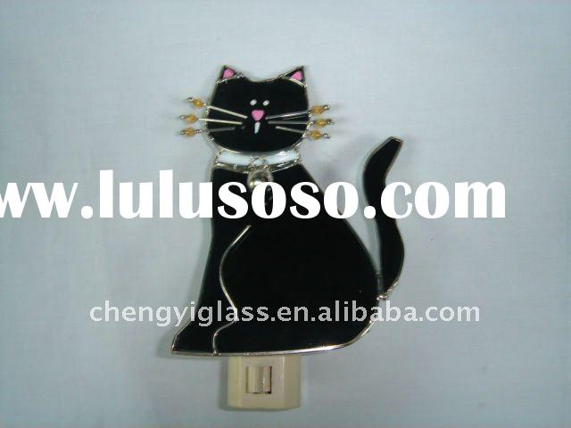 hot !!! pet!!!  Stained Glass cat shaped mini Night Light for decorations