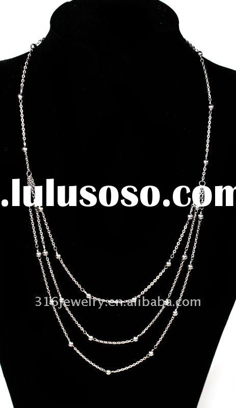 stainless steel  rolo chain necklace with small balls